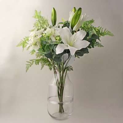Florals Forever Olivia Lily Luxury Bouquet White 63cm White, Green and Clear