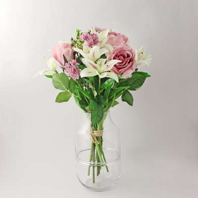 Florals Forever Phoebe Tiger Lily Luxury Bouquet Pink 58cm Pink, Green and Clear