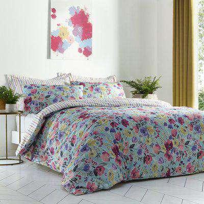 Freida Reversible Duvet Cover and Pillowcase Set Blue