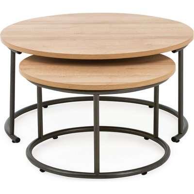 Fulton Oak Effect Set of 2 Coffee Tables Light Oak