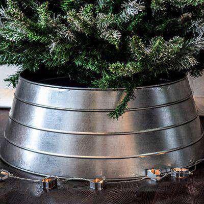 Galvanised Metal Christmas Tree Skirt Silver