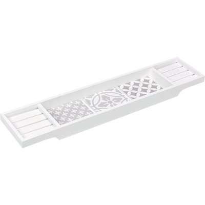 Geo Tile Bamboo Bath Rack Grey