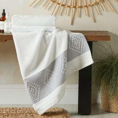 Geometric Border Anti Bacterial White Bath Towel White