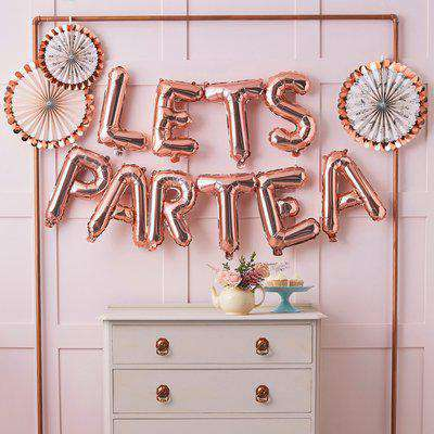 Ginger Ray 2m Balloon Let's Part Tea Bunting Rose Gold