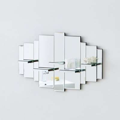 Glam Mirrored Shelves Silver