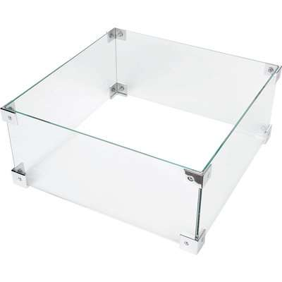 Glass Fire Screen for Square Fire Pit Clear