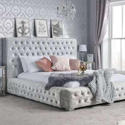 Grande Crushed Velvet Bed Grey