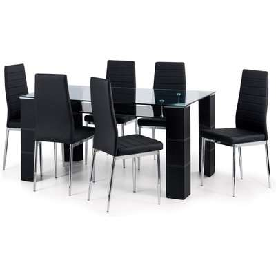Greenwich Dining Table with 6 Chairs Black