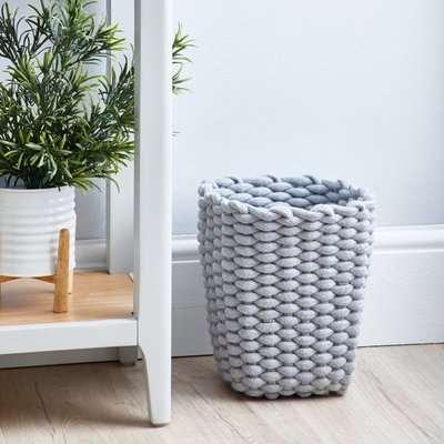 Grey Knitted Waste Paper Bin Grey