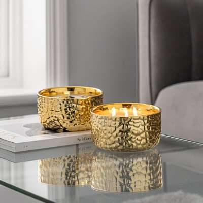 Hammered Metal Gold Amber and Mandarin Multiwick Scented Candle Gold