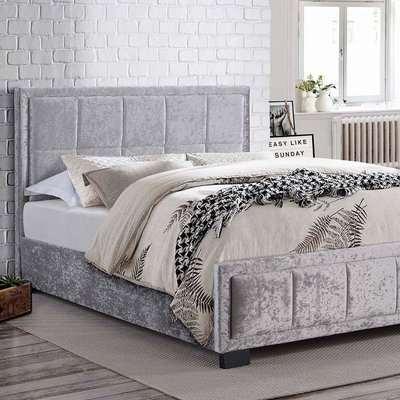 Hannover Steel Crushed Velvet Bed Frame Grey