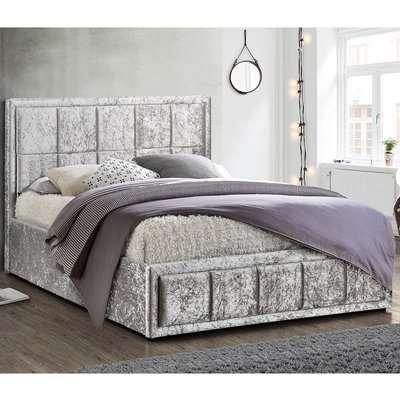Hannover Steel Crushed Velvet Ottoman Bed Grey