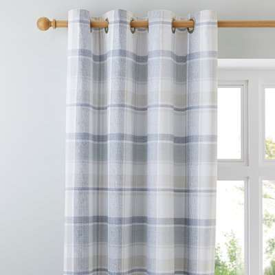 Harrison Blue Thermal Eyelet Curtains Blue and White
