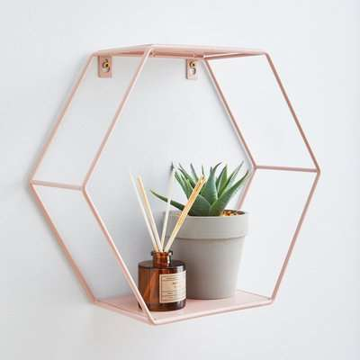 Hexagonal Blush Pink Wall Shelf Pink