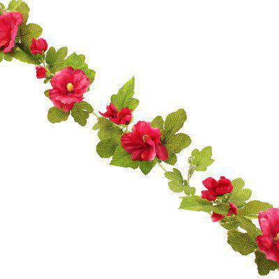 Hollyhock Garland 150cm Fuchsia Green and Pink