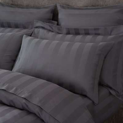 Hotel Egyptian Cotton 230 Thread Count Stripe Housewife Pillowcase Pair Charcoal