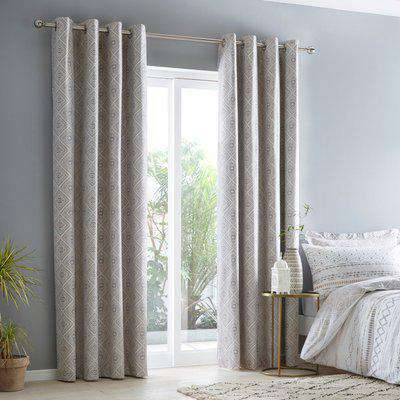 Inca Natural Blackout Eyelet Curtains Brown, Grey and White