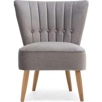 Isla Velvet Cocktail Chair - Light Grey Grey