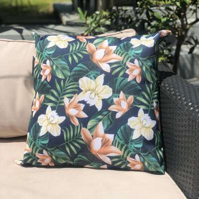 Java Navy Water Resistant Outdoor Cushion Navy, Green and Brown