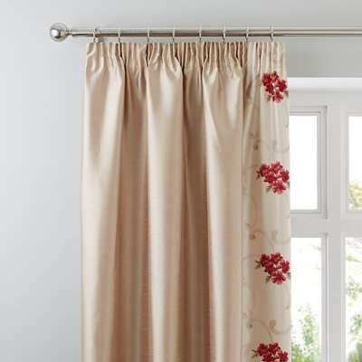 Juliet Red Thermal Pencil Pleat Curtains Red and Brown