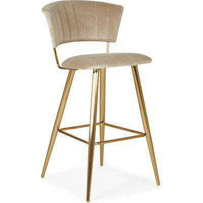 Kendall Bar Stool Mink Velvet Brown and Gold