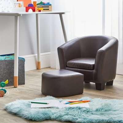 Kids Brown Tub Chair and Footstool Brown