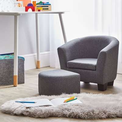 Kids Grey Linen Armchair and Footstool Grey
