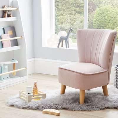 Kids Miniature Eva Velvet Cocktail Chair - Blush Blush