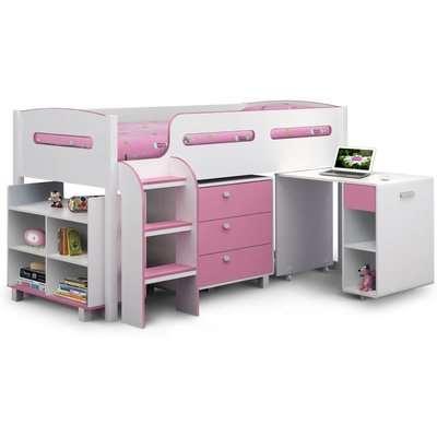 Kimbo Pink Cabin Bed Pink/White