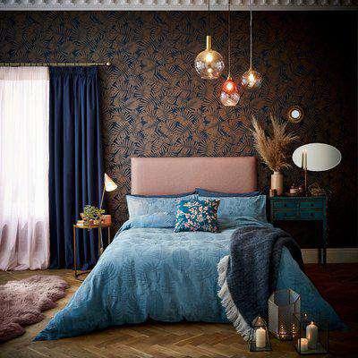 Clarissa Kimono Jacquard Smoke Blue 100% Cotton Duvet Cover Set Dark Blue