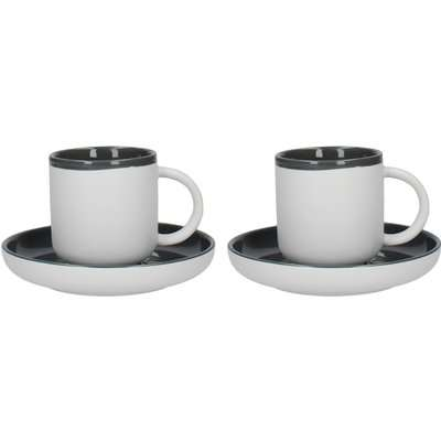 La Cafetiere Barcelona Cool Grey Pack of 2 Coffee Cups and Saucers Grey and White