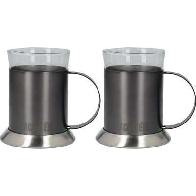 La Cafetiere Set of 2 Brushed Gunmetal Glass Cups Gunmetal Grey