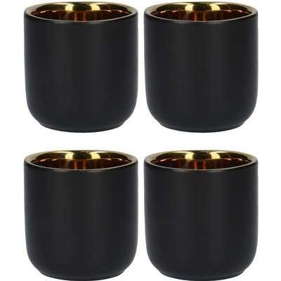 La Cafetiere Set of 4 Large Double-Walled Black Mugs Black