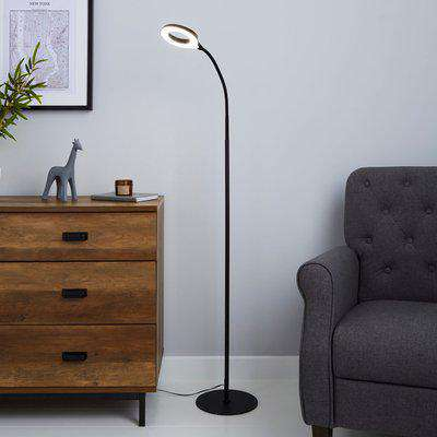 Lekan Integrated LED Black Floor Lamp Black