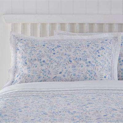 Libby Cuffed Print Blue Oxford Pillowcase Blue