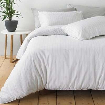 The Linen Yard Linear White Stripe 100% Cotton Duvet Cover and Pillowcase Set White