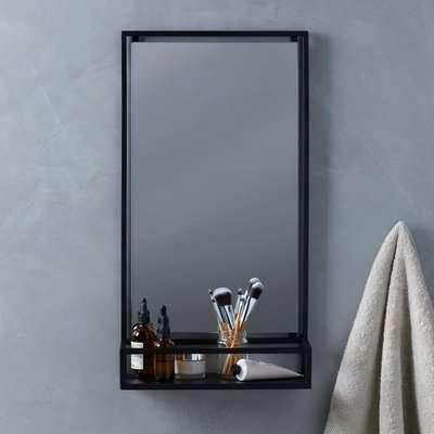 London Matt Black Bathroom Mirror and Shelf Black