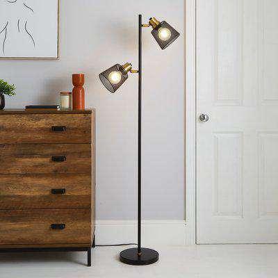 Idris Industrial Floor Lamp Black