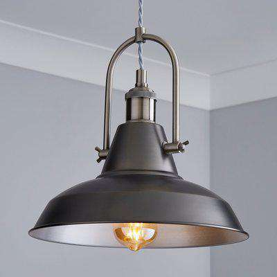 Lucas Industrial 1 Light Pendant Pewter Ceiling Fitting Grey