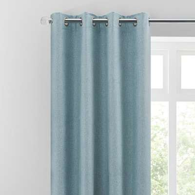 Luna Brushed Soft Blue Blackout Eyelet Curtains Blue