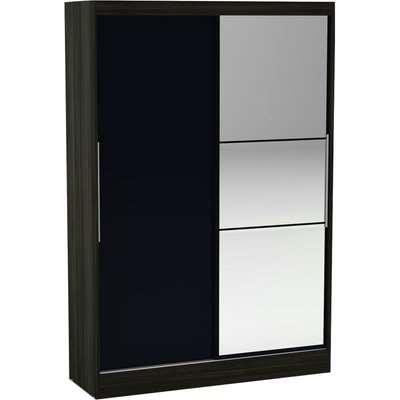 Lynx 2 Door Sliding Mirrored Wardrobe Natural/Black