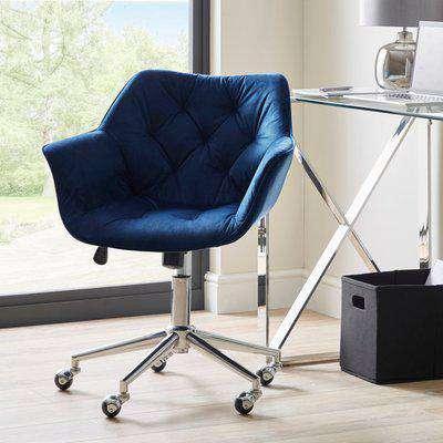 Macy Midnight Velvet Buttoned Back Office Chair Blue