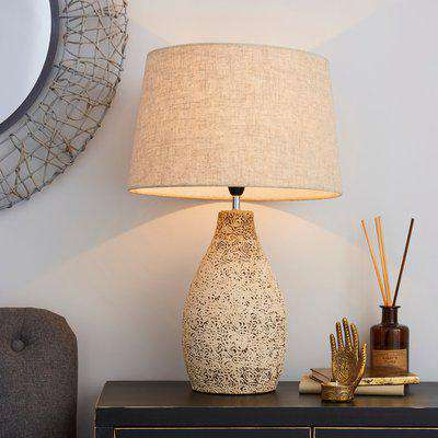 Mahon Tall Stamped Barrel Table Lamp Light Brown / Natural