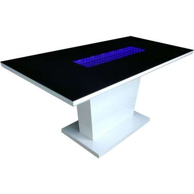 Matrix Dining Table with LED Lights Black