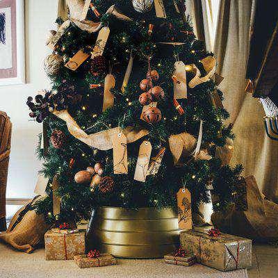 Metal Gold Christmas Tree Skirt Gold