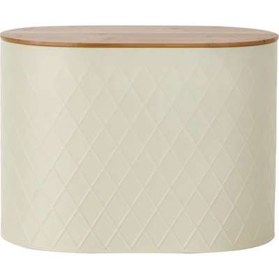 Metal Cream Geometric Bread Bin Cream