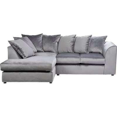 Blake Left Hand Velvet Corner Sofa Grey
