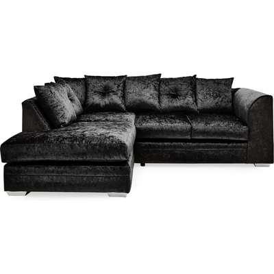 Blake Crushed Velvet Left Hand Corner Sofa Black