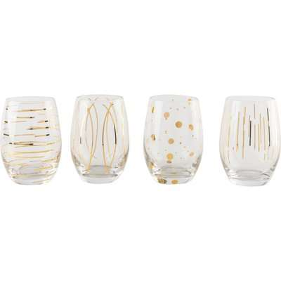Set of 4 Mikasa Cheers Stemless Wine Glasses Clear and Gold