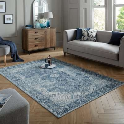 Mila Traditional Rug Blue and White